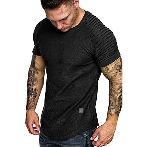 Camisetas Hombre Basicas 2019 Nuevo SHOBDW Cómodo Cuello Redondo Blusa Tops Verano Color Sólido Deporte Camisetas Hombre Manga Corta Suelto Tallas Grandes M-3XL(Negro,M)