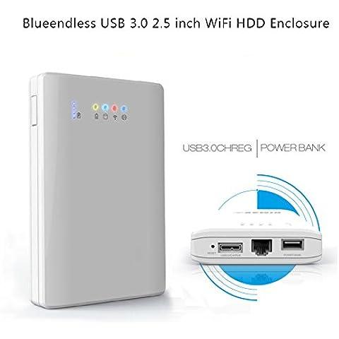 ohpa y uso compartido de almacenamiento Caja de disco duro externo portátil & WiFi inalámbrico y repetidor WiFi & Power Bank y USB HUB USB 3.0 blanco