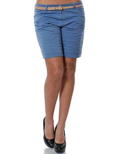 Damen Shorts Chino Kurze Hose inkl. Gürtel No 13908 Pastellblau 36 / S