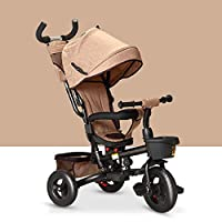 QXMEI 4 In 1 Childrens Folding Tricycle 6 Months To 5 Years 360° Swivelling Saddle Children