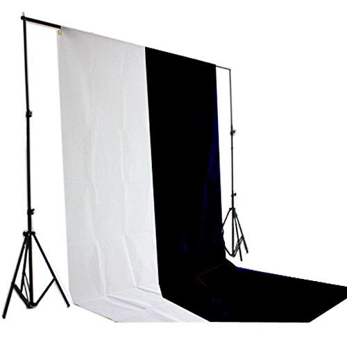 WISD Hintergrundsystem Fotostudio Foto Zubehör 2 x 2 m Hintergrund inkl. 1,6 x 3 m Hintergrundstoff Weiss weiß Schwarz Screen