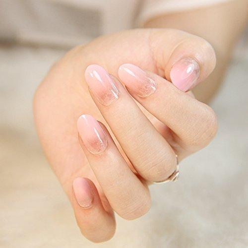 24 PCS Vorgefertigt Falsche Nägel Gefälschte Nagel-Spitzen Französisch Maniküre Hübsche Nagel-Entwürfe Vollständige Abdeckung Rosa Gradient zu löschen mit Kleben (Gefälschte Nägel, Leim Auf)