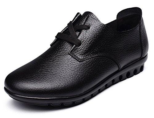 Fangsto Women's Classic Leather Oxfords Flats Shoes Lace-UPS UK Size 5 Black