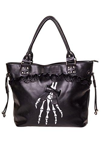Banned - Damen Schultertasche Shopper Tasche - Black Skelleton (Schwarz) -
