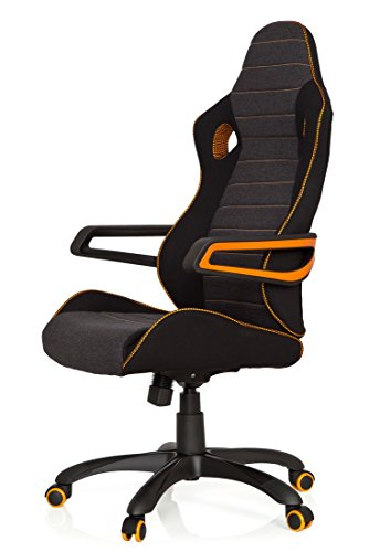 410BOlKLkBL - hjh OFFICE 621850 RACER PRO IV - Silla gaming y oficina, tejido negro/gris/naranja