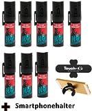"8 Stück K.O. - Spray 007 CS-Gas, Reizgas - 15ml - inkl. Smartphonehalter ""TOUCH-U"""