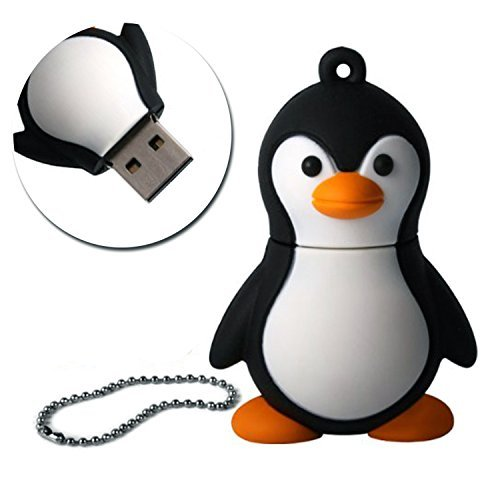 SUNWORLD niedlich Pinguin USB Stick 16GB Speicherstick 2.0 mit Schlüsselanhänger für Kinder Geschenk Schwarz -