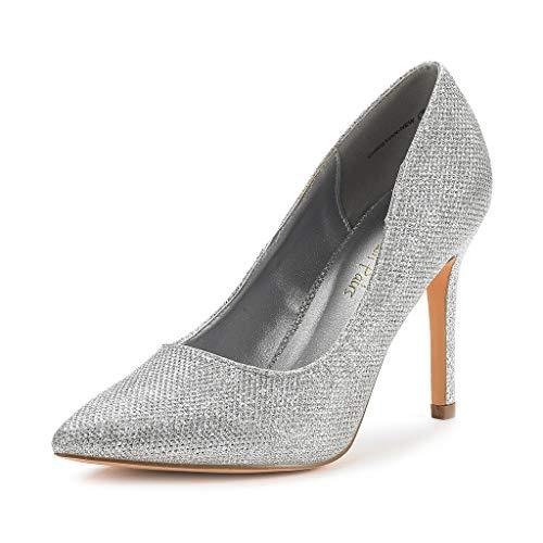 DREAM PAIRS Zapatos de Tacón Alto Pump para Mujer Plateado Brillante 42 EU/11 US