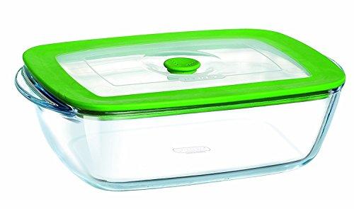 Pyrex cook & store plus teglia multiuso rettangolare con coperchio, plastica, 0.35 litri, verde, 17 cm
