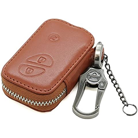 Genuine Leather Zipper Bag Key Case Holder Cover fit for LEXUS Smart Remote Key 3 Button 5406