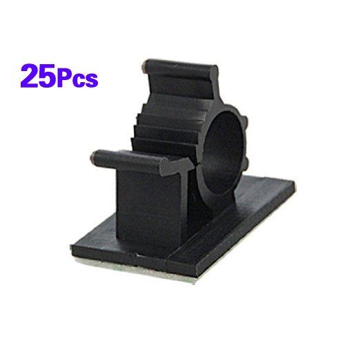 TOOGOO(R) 25 Stueck schwarz Selbstklebende Nylon Leitungs einstellbar Kabelschellen Clips