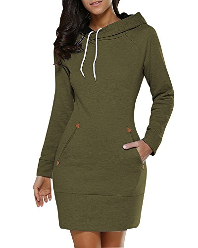 BIUBIU Damen Mode Hoodie mit Zip Langarm Pullover Jumper Pulli Sweatshirt Jumper Armeegrün DE 36 / Herstellergröße M (Schön Kleider Casual)
