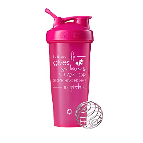 When Life Gives You Lemons, fragen für etwas höher in Protein Blender Bottle Shaker, Klauenhammer Classic Mixer Flaschen, Funny Zitat, Pink - 28oz - Oz 20 Flasche Mixer