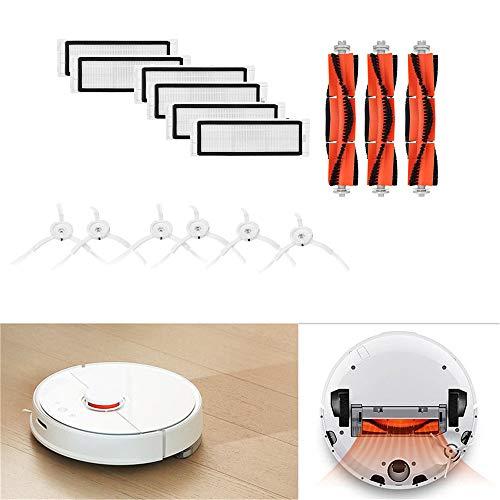 Reinigungskit Bürsten Filter,About1988 Ersatzbürsten Ersatzteile Hauptbürstenfilter Seitenbürsten Zubehör für XIAOMI MI Roboter Vacuum Home Applicance Part (Orange + Weiß)
