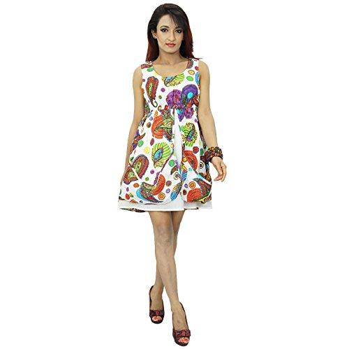 Frauen-Strand-Kleid gedruckte kurze Länge Lässige Sommerabnutzungsbaumwollsommerkleid Magenta und Off White