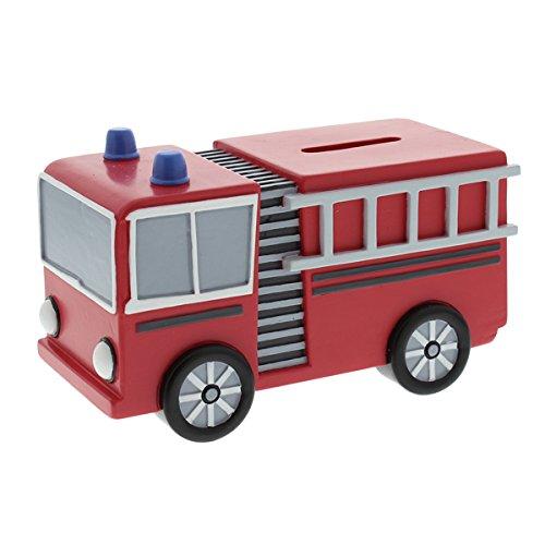Red Fire Engine Kunstharz Spardose Jungen Geburtstag Taufe Geschenk