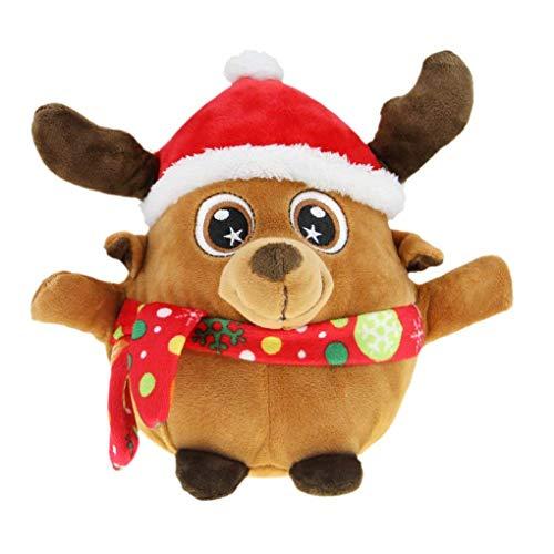 Leuchtend Weihnachtsmann Elch Spielzeug mit Musik Kinder singende Plüschpuppe Weihnachts Spielzeug Weihnachtsgeschenke Deko, eine Kordelzug Tasche Kostenlos