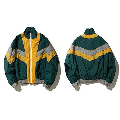 Vintage Wolle Jacke (JIAKENVDE Jacke Vintage Multicolor Farbblock Windbreaker n Männer Herbst Reißverschluss Mantel Hip Hop Lässige Kontrast Track n)