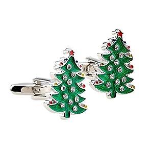 1 Paar Herren Dekor Weihnachten Baum Manschettenknöpfe Manschette Geschenk