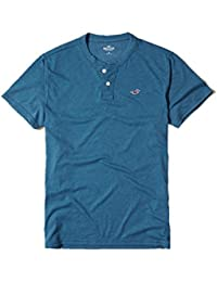 Hollister New Blue Henley T-Shirt Tee Top Small S Polo Shirt Men Blue