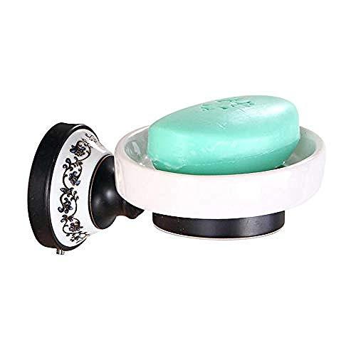 WEIUTY Handtuchhalter Regal Metall für Rahmen Europäische schwarz antik Messing Seifenschale Rack Wand Bohrer Keramik Seifenhalter Bad Hardware Anhänger -