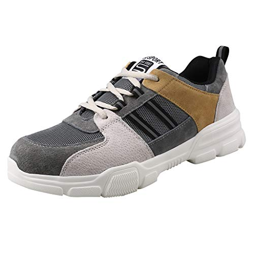 Paar Arbeitsschuhe Fly Woven Sicherheitsschuhe Sicherheitssneaker Schnürschuhe Anti-Smashing Sneaker Anti-Piercing Wanderschuhe Strassenschuhe für Damen Herren, Gelb, 39.5 EU