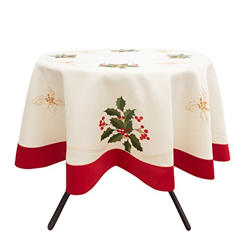 Creative Home Ideas CHI Tischdecke, Bestickt, rechteckig Traditionell 70 in. Round Holly Berries with Red Trim Border - Traditionelle Holly