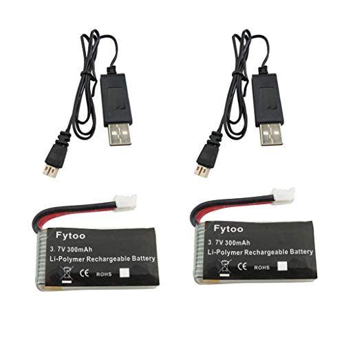 Fytoo 2PCS 3.7V 300mAh Lipo Batterie mit USB Ladekabel für JJRC H36 Eachine E010 GoolRC T36 NIHUI NH010 F36 RC Quadcopter Ersatzteile Drohne Batterie