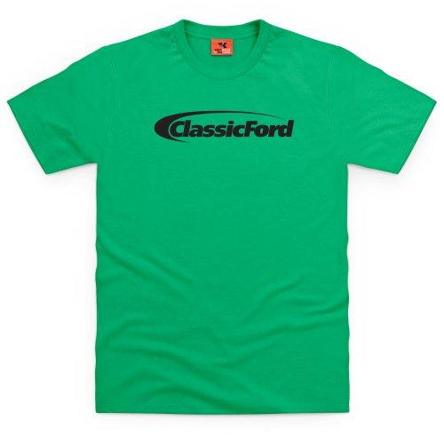 Classic Ford Black Logo T-Shirt, Herren Keltisch-Grn