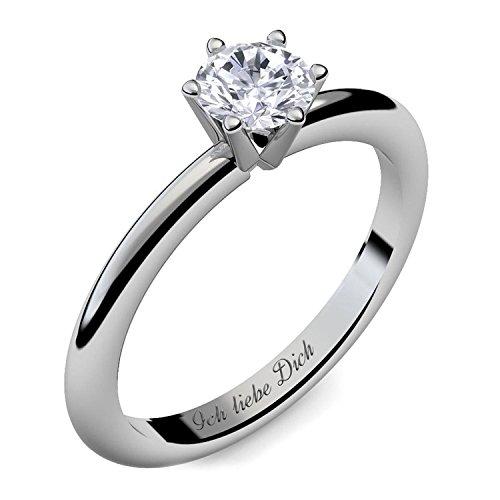 Verlobungsring Ring Damen Silber 925 von AMOONIC Zirkonia Stein mit GRAVUR & ETUI-BOX Silberring Frau Verlobungsringe Damenring rhodiniert Echt Schmuck Antragsring AM195SS925ZI60