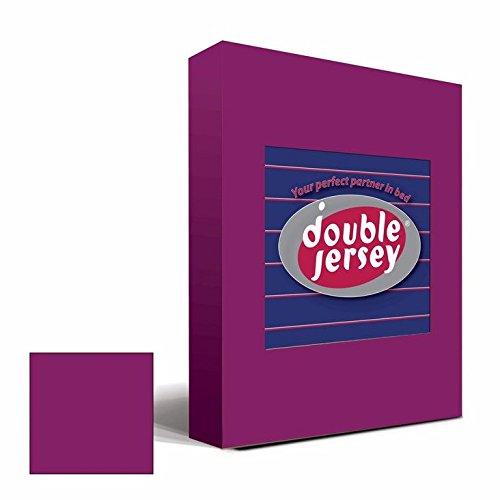 Double Jersey - Spannbettlaken 100% Baumwolle Jersey-Stretch bettlaken, Ultra Weich und Bügelfrei mit bis zu 30cm Stehghöhe, 160x200x30 Aubergine - 2