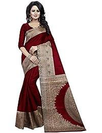 Kiranz Web Store Women's Cotton Silk Saree With Blouse Piece (KWS_085_KalamKari_ Maroon Color)