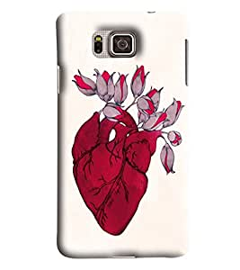 Blue Throat Heart With Flower Blooming Printed Designer Back Cover/Case For Samsung Galaxy Alpha