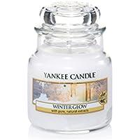 YANKEE CANDLE 1342539E Petite Jarre Lueur hivernale/Winter Glow, Verre, Blanc, 6,5x6,2x8,1 cm