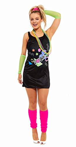 Ladies I Love the 80s Dress 1980s Hen Festival Fancy Dress Costume UK 8-19