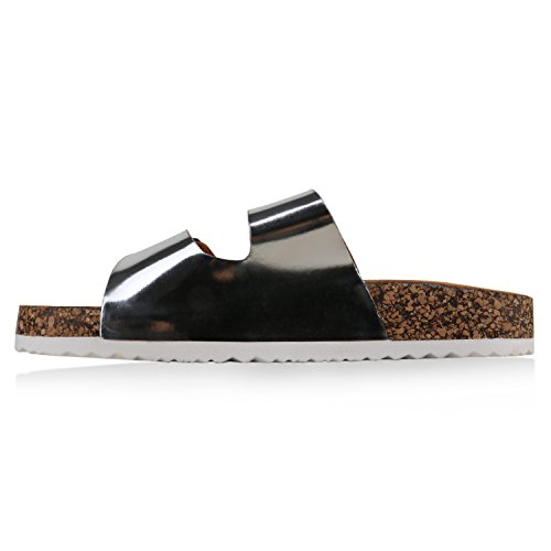 Bequeme Damen Sandalen | Zehentrenner Glitzer Metallic | Komfort-Sandalen Kork | Bequemschuhe | Strandschuhe Schnallen Silber Schnallen