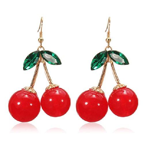 Belles boucles doreilles pendantes rouges en forme de cerises - Cristaux et strass - Breloques - Boolavard®