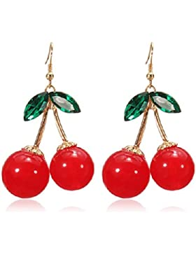 Boolavard® TM schöne rote Kirsche Obst Ohrstecker Kristall Strass Fashion Charm Ohrringe