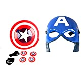 IndusBay® Captain America Face Mask & Shield Disc Launcher with Light & Sound Action Toy for Kids