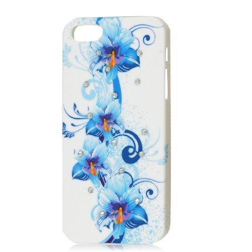 Shiny Strass Blaue Blume unterstützen stark Fall-Abdeckungs-Schutz-Weiß für iPhone 5G