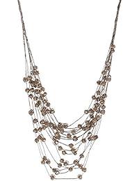 f33ef07c0479 Collar Fantasía 16 hileras cordón textil y cristales marrón brillantes ...