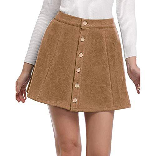Kleid Sannysis Elegante Damen Röcke Mode Button Down Wildleder Stoff A-Linie Rock Nahtlose Stretch Engen Kurzen Rock