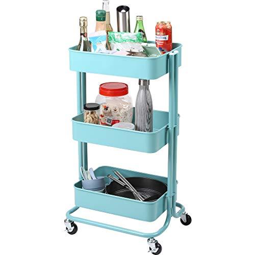 Rackaphile 3-stöckiger Allzweckwagen mit Rollen, für Badezimmer, Küche, Kinderzimmer, Waschküche, Blau