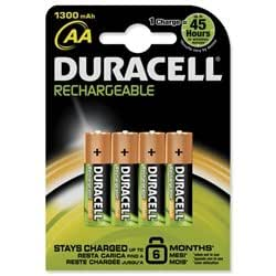 4 DURACELL AA 1300mAh RECHARGEABLE BATTERIES BATTERY