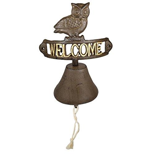dreamseden Rustikal Eule Welcome Schild Klingeln,-Vintage Wandhalterung Gusseisen Call Bell Dekoration für Tür Garten Yard Veranda Post Terrasse Tor Zaun