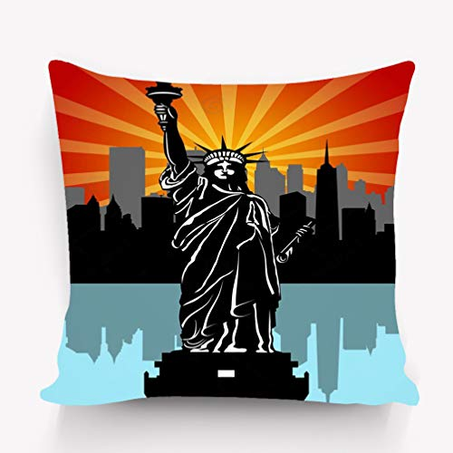 zexuandiy Kissenbezüge Pillow Covers Decorative 18x18 in Pillowcase Cushion Covers Zipper Statue Liberty Black White Fantasy