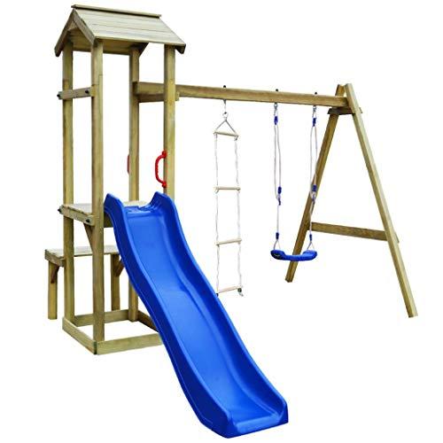 vidaXL Holz Spielturm mit Rutsche Schaukel Leiter Kletterturm Spielhaus Kinder