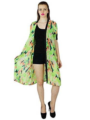 Bimba Longueur Genou Imprimé Vert Haussement Vêtements De Plage Coverup Top Long Vert