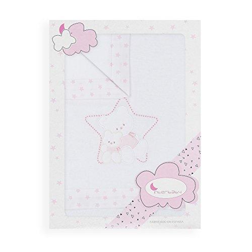 Sábanas Minicuna Franela Oso Cariñoso Blanco Rosa