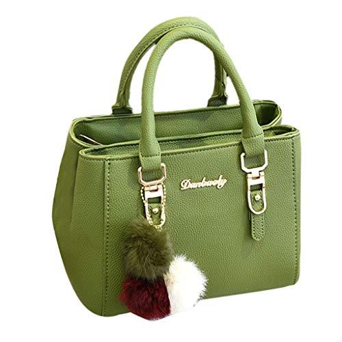 Lazzboy Schultertasche Frauen Handtasche Hairball Ornaments Tote Solide Pailletten Geldbörse Messenger (Armeegrün) -